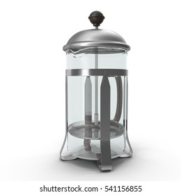 Empty French Press Coffee or Tea Maker isolated on white. 3D illustration