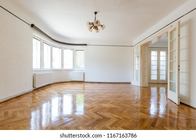 Empty freshly renovated old style european home interior