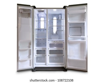 Empty fridge freezer with both doors open
