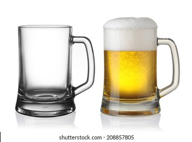 Empty and full beer in glass isolated on white background