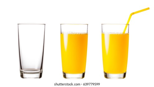 Empty and full glasses with orange juice isolated on white background. Collage.