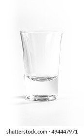 Empty Full Shot Glass Party Drinking Alcohol Beer Whiskey Clear Bourbon White Background Isolated Object Single Composition