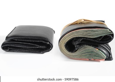 Empty and full wallet on white background