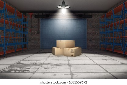Empty garage with cardboard boxes. 3d rendering
