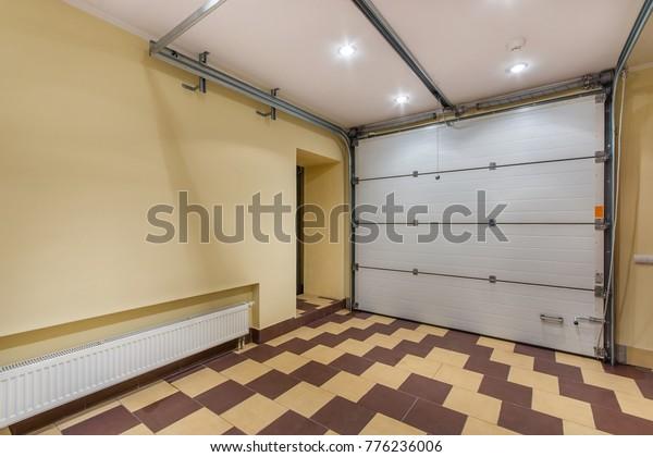 Empty Garage Interior Yellow Walls Central Stock Photo Edit Now 776236006