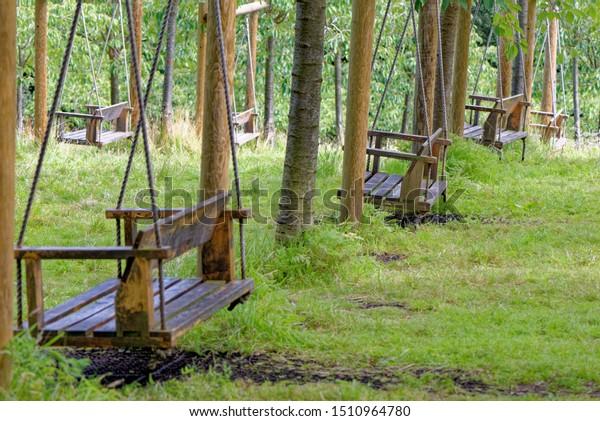 Empty Garden Tree Swings Summer Stock Photo Edit Now