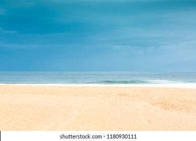 Empty generic tropical beach background, in Copacabana, Rio de Janeiro