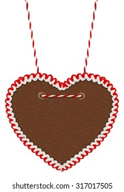 empty gingerbread heart isolated on white background