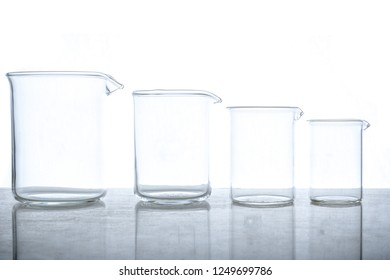 Empty glass beakers used in chemistry experiments