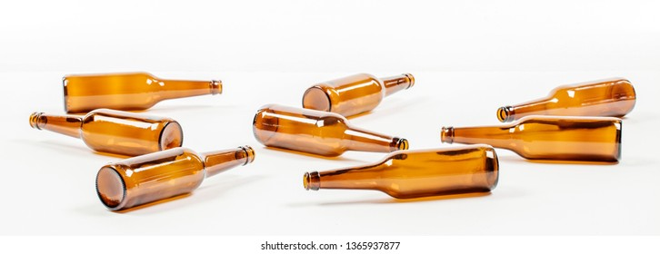 Empty glass beer bottles