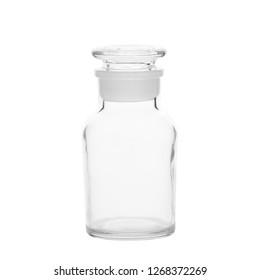 empty glass bottle isolated on white, transparent jar