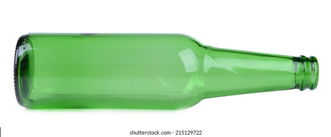 Empty glass bottle isolated on white