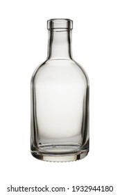 Empty glass bottle on white background, without stopper