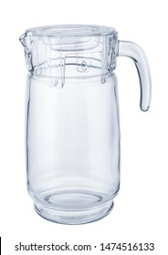 Empty glass carafe close up on white background