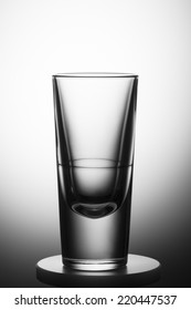 Empty glass with clear gradient background.