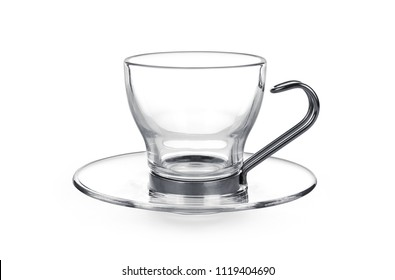 Empty glass cup and saucer isolated on white background