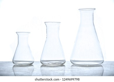 Empty glass flasks used in chemistry experiments