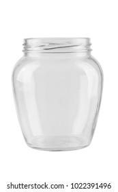 empty glass jar for conservation, isolated on white background. File contains clipping path.
