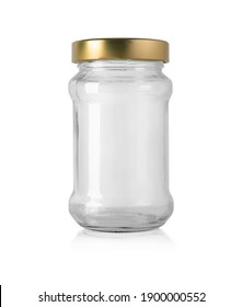 empty glass jar for food and canned food. Isolated on white background with clipping path
