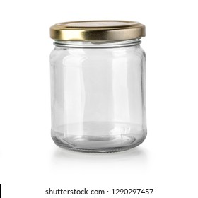 Empty Glass jar isolated with clipping path