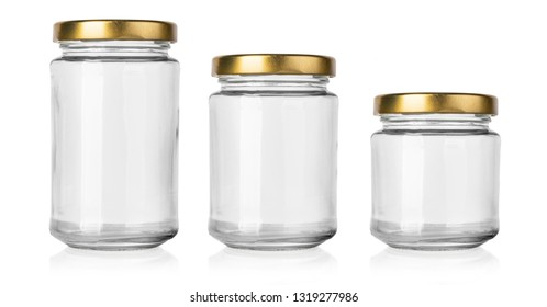 empty glass jar isolated on white with background with golden lid