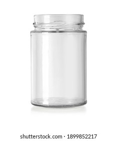 Empty glass jar isolated on a white background with clipping path