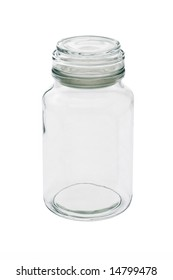 Empty glass jar with lid on white background