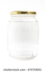 Empty Glass Jar with Metal Lid Isolated on White Background