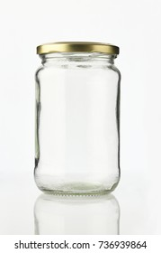 Empty Glass Jar with Metal Lid Isolated on White Background Shot in Studio