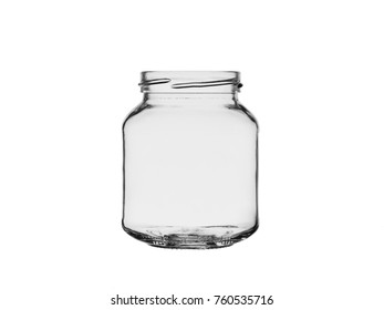 empty glass jar open isolated on white background
