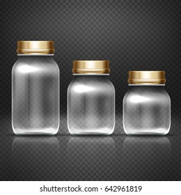 Empty glass jars with lods for grandma kitchen canning preserves set. Glass bottle for jam, illustration of empty bottle for conservation