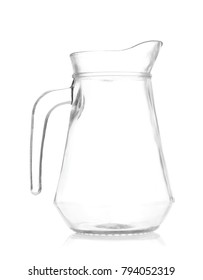 empty glass jug isolated on white background