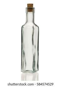 Empty glass oil bottle