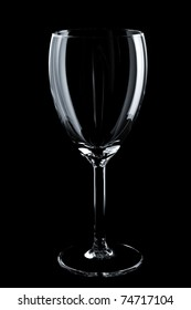 Empty glass on the black background
