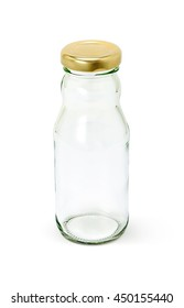 Empty glass packaging bottle for milk product isolated on white background with clipping path