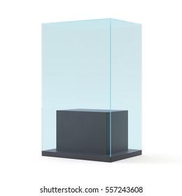 Empty glass pedestal. display showcase on white background.