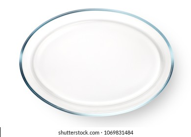 Empty glass plate isolated on white background. Top view.