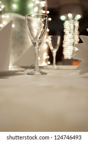 Empty glass in restaurant table