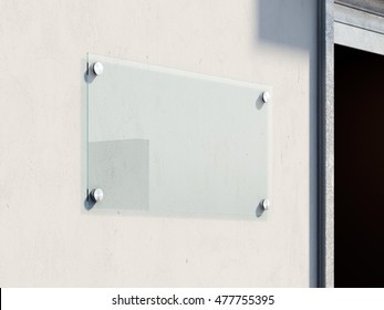Empty glass signboard on the bright wall . 3d renderign