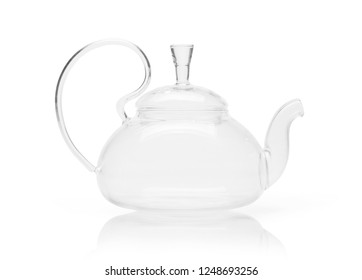 Empty glass teapot isolated on a white background