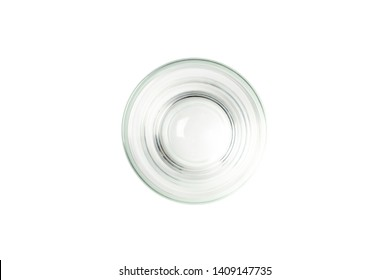 empty glass top view on white background.