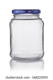 Empty glass transparent jar with cap isolated on white
