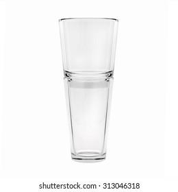 Empty glass vase, isolated on white background