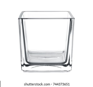 empty glass vase, square shape on white background