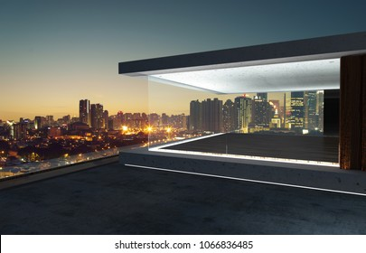 Empty glass wall balcony with city skyline view . Night scene .Mixed media .
