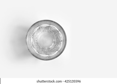 Empty glass of water  top view