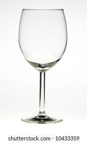 Empty glass of wine on white backround