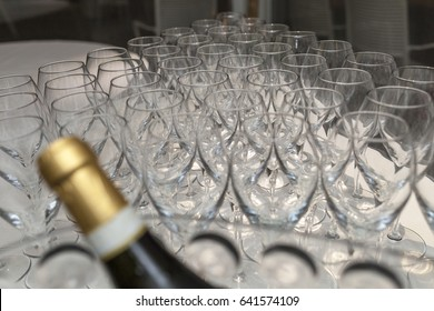 Empty glasses on a table in a restaurant for a party