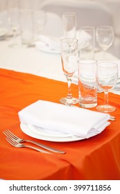 Empty glasses on wedding reception party