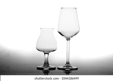 Empty Glasses and Reflection Isolated on White Background